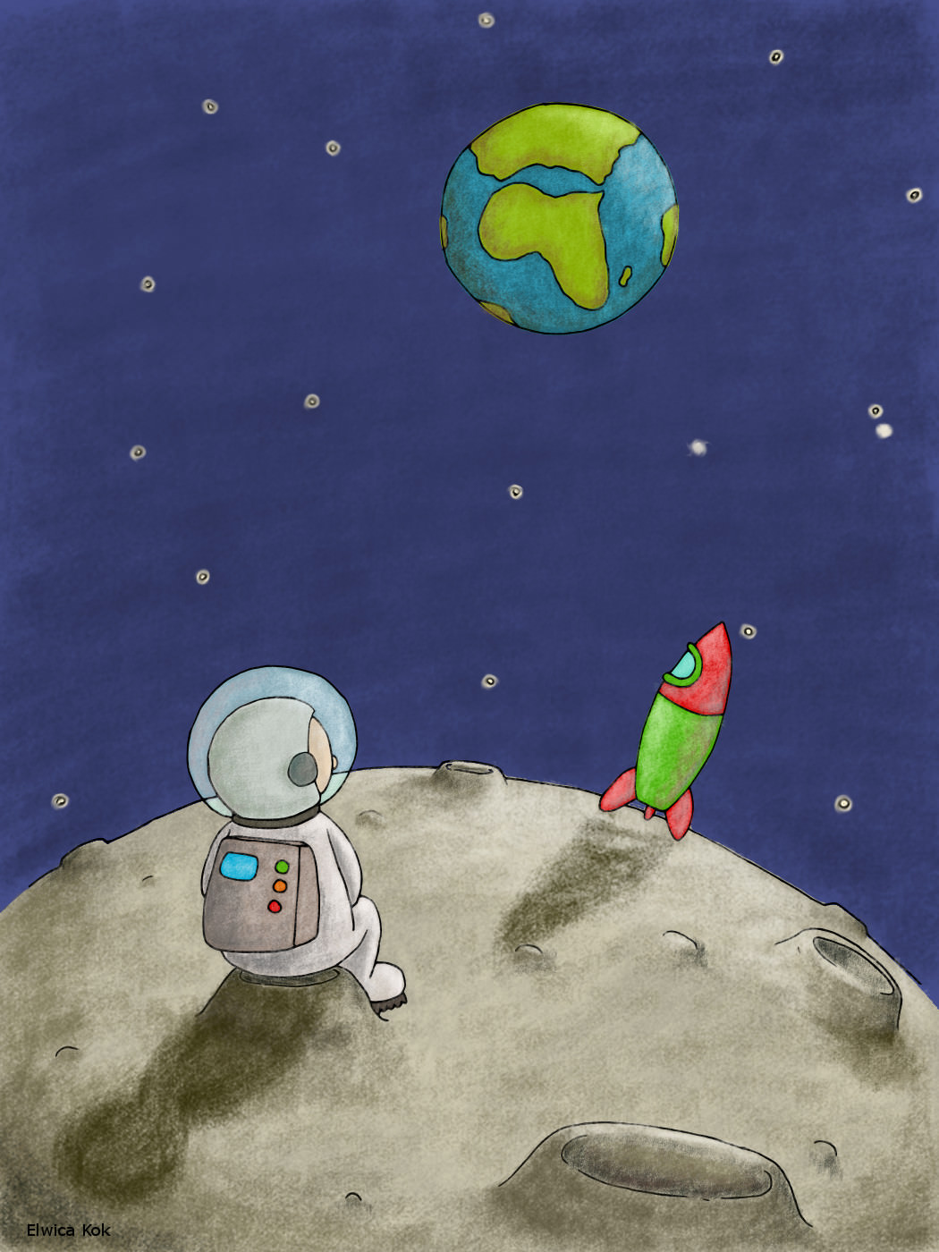 illustration of a man on the moon